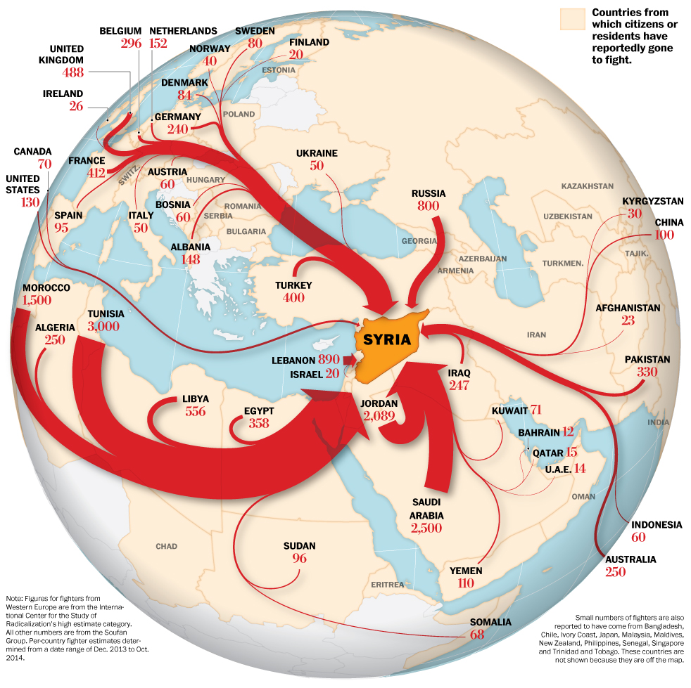 The flow of foreign fighters to Syria. Image credits: International Center for the Study of Radicalisation and Political Violence (ISCR), The Soufan Group, CIA. Gene Thorp; Julie Tate and Swati Sharma.